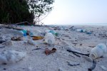Plastic waste on South Brother Island - lonely beach means more trash